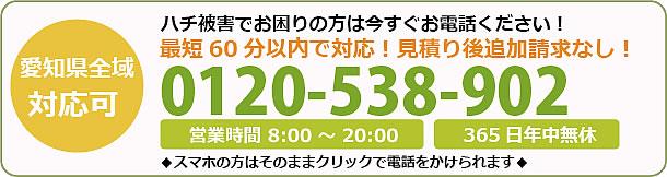愛媛県蜂駆除・巣の撤去電話お問い合わせ「0120-538-902」