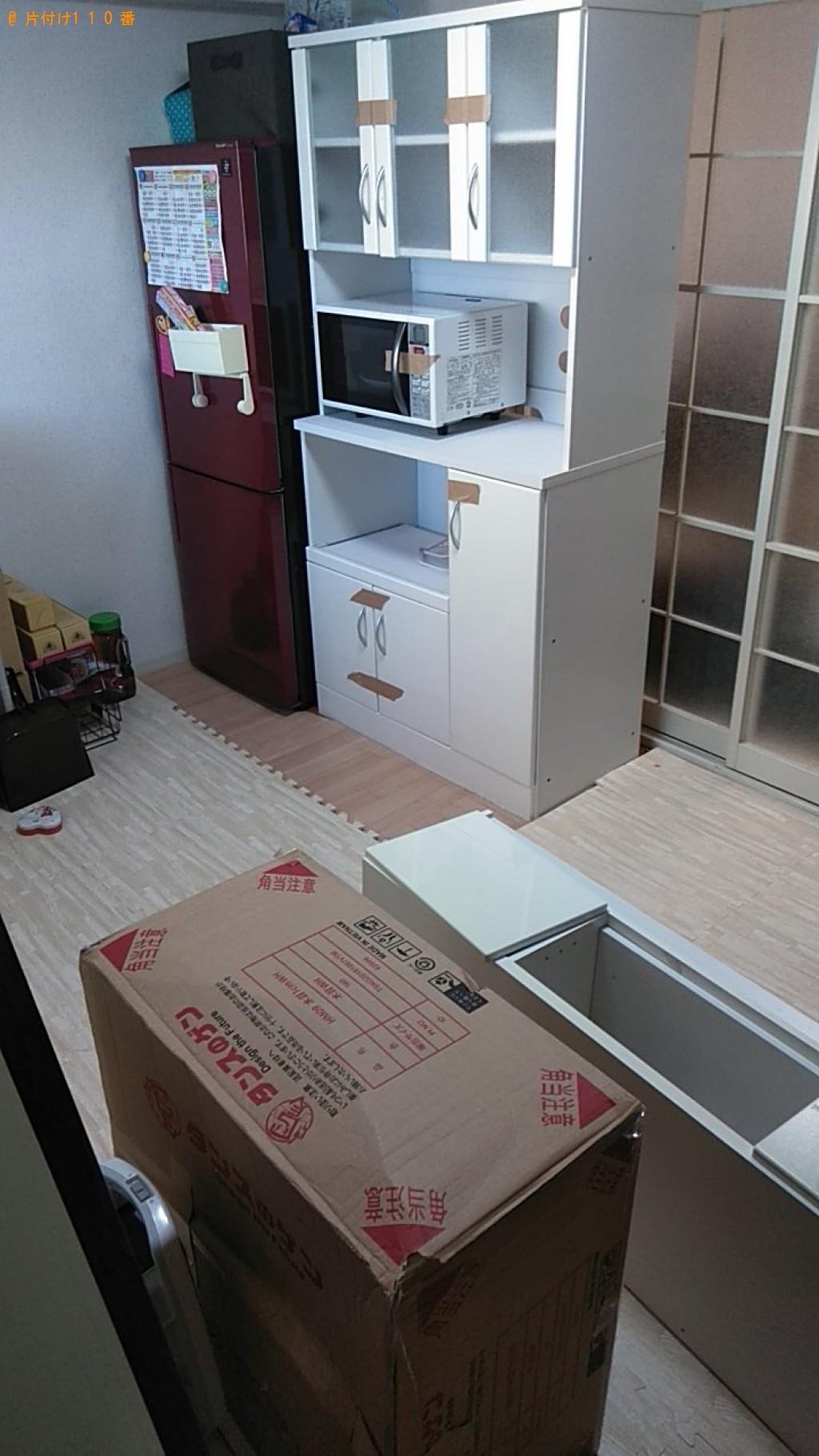 【松山市竹原】電子レンジ、食器棚、テレビ台などの回収・処分ご依頼