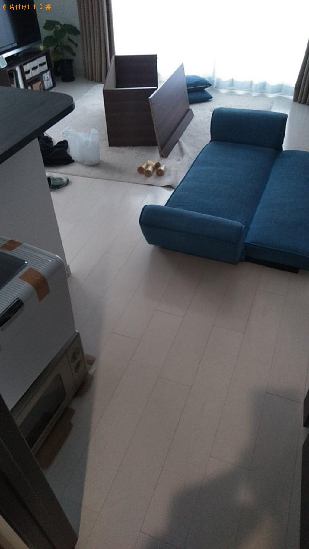 【松山市三番町】ローテーブル、ソファー、小型冷蔵庫等の回収・処分